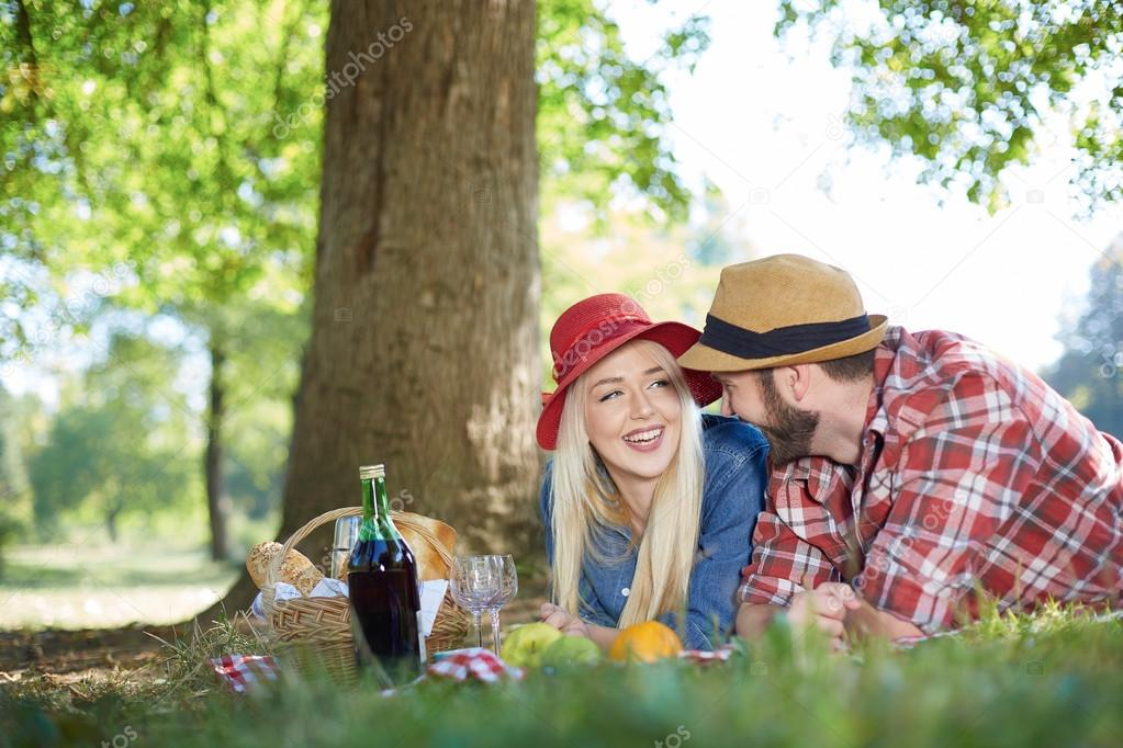 Healthy vegetarian or vegan picnic with a delicious spread of fruits