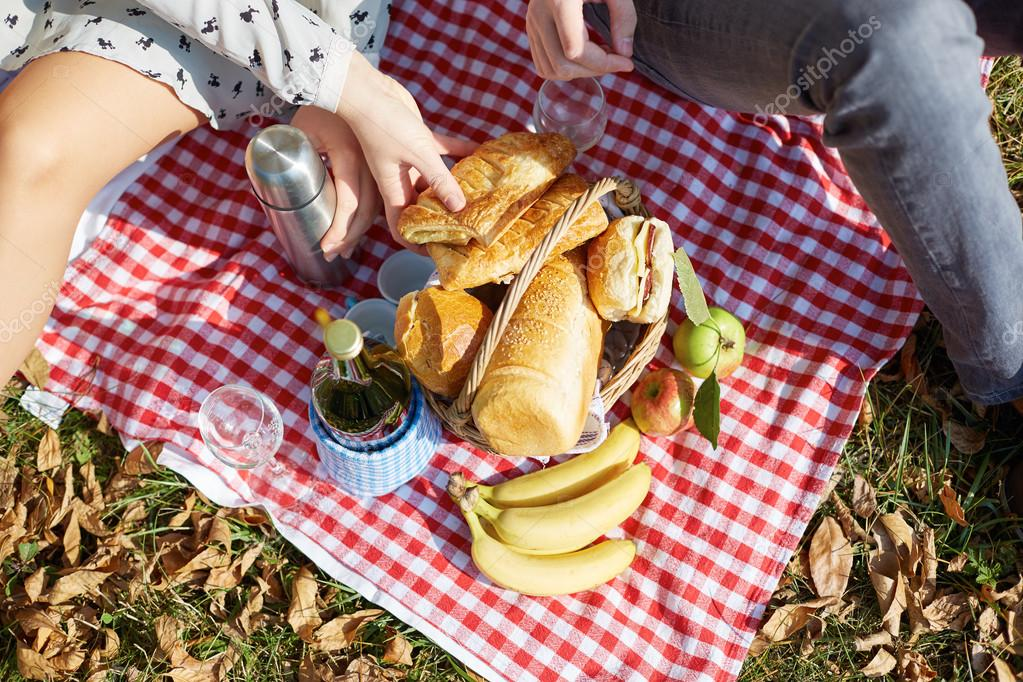 Basket with food,bread and wine on picnic