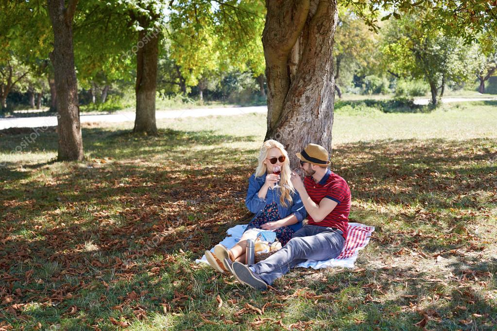 Beautiful Young Couple Having Picnic in Countryside. Happy Family