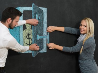 Mortgage and credit concept. Adult couple planning their future