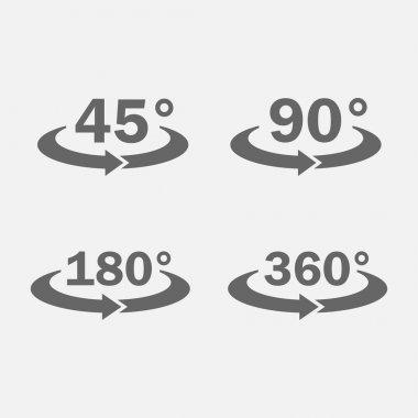 45, 90, 180, 360 degrees view icon