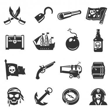 Pirates black icon set, adventure and travel collection. Piracy fun, journey navigation decor. Vector line art illustration on white background icon