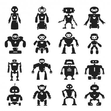 Robot black icon set, characters for game, media. Different types of machines, working automatically. Vector line art illustration on white background icon