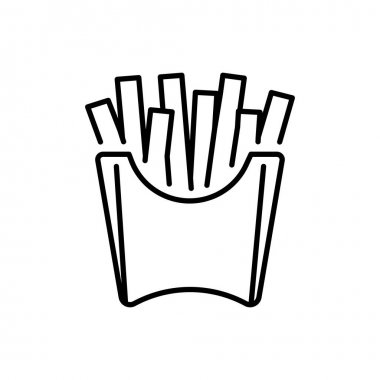 French fries in paper cup thin line icon isolated on white. Potato finger chips in disposable packing outline pictogram. Fast street take away food, snack vector element for infographic, web. icon