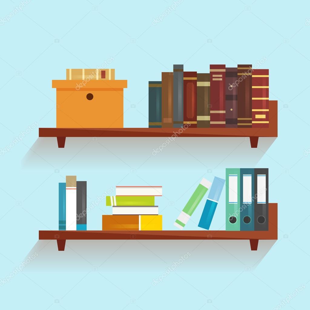 Boekenplank Met Boeken.Vector Boekenplank Met Boeken Stockvector C Axsimen 85761552