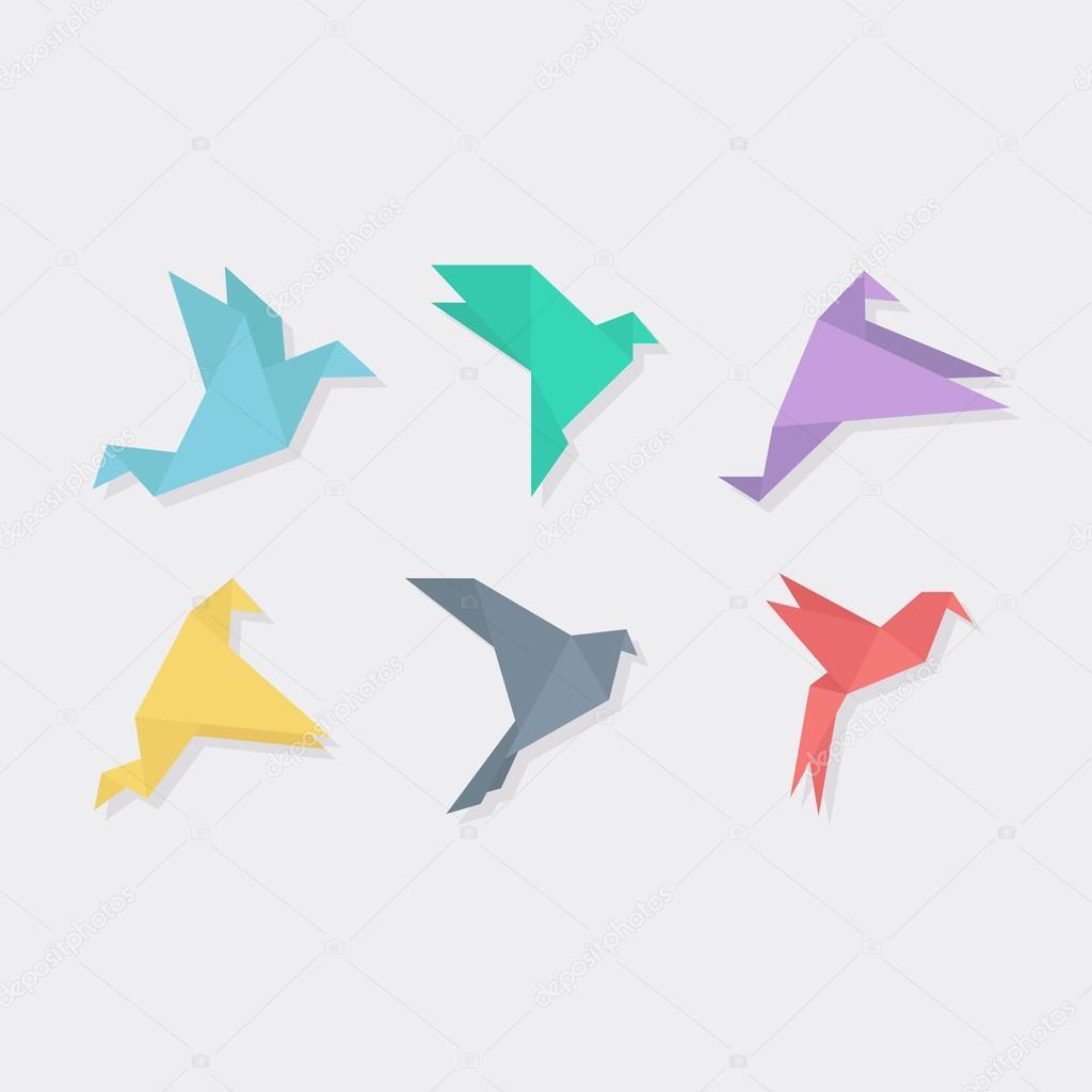 フラットの折り紙鳥ベクトル イラスト ストックベクター Axsimen