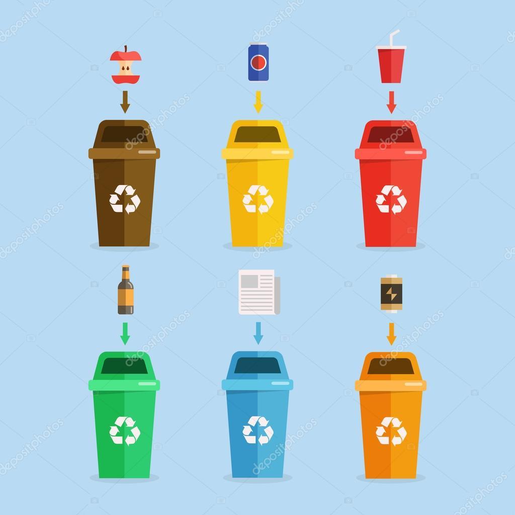 Waste sorting concept illustration