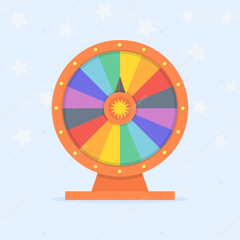 Wheel of fortune vector flat illustration.