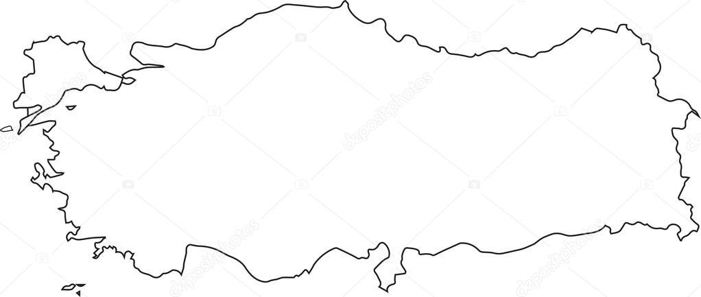 Blank Map Of Turkey — Stock Vector © mesla #117011334