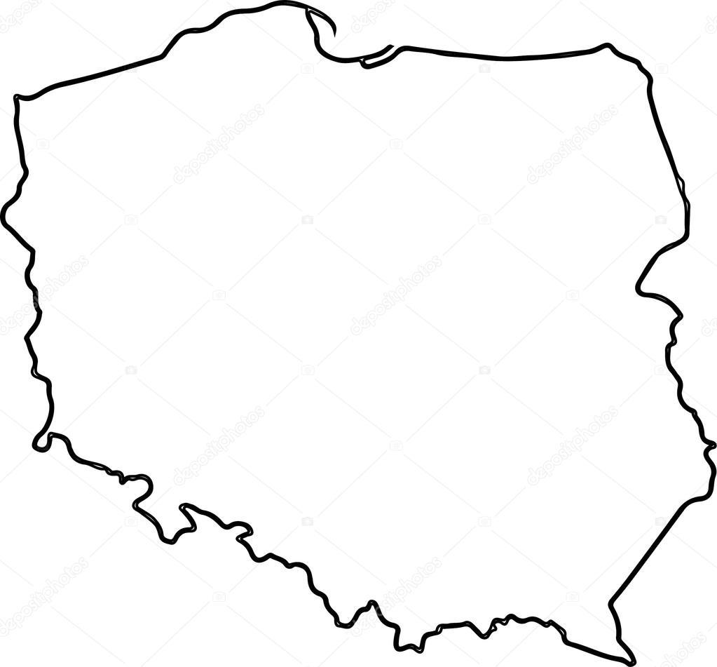 Polen Karte Umriss.Vektorkarte Von Polen Stockvektor C Mesla 83787632