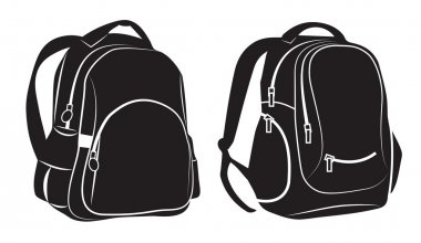Black Backpacks on white background