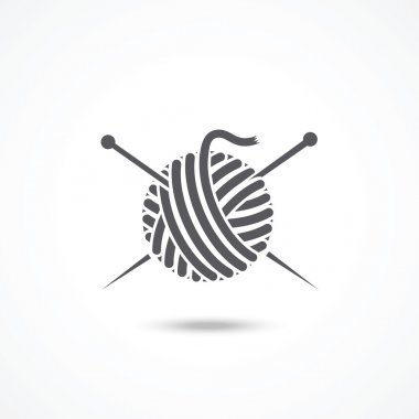 Yarn ball and needles icon