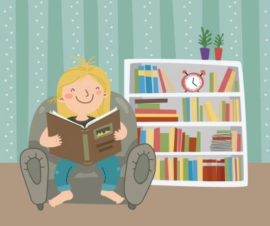 I Love Reading Little girl read book stock vector