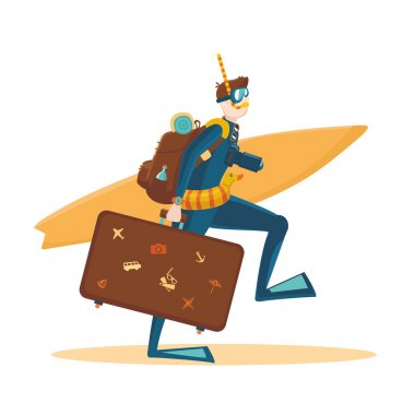 Traveler with a bag and a surfboard