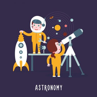 Boy and girl are learning astronomy.