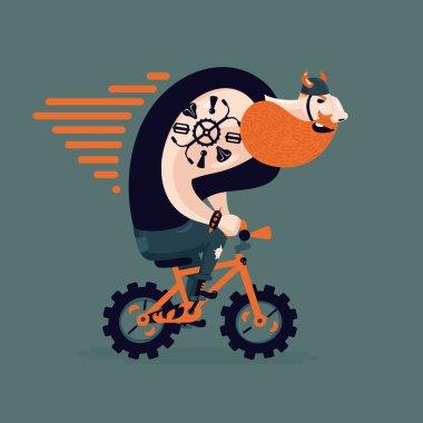 Big ginger biker on a little bike.
