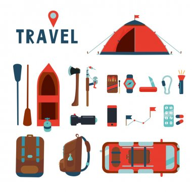 Travel icons set. Isolated cartoons signs collection. Flat style