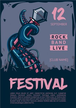 Music poster template for rock concert. Octopus is holding microphone.