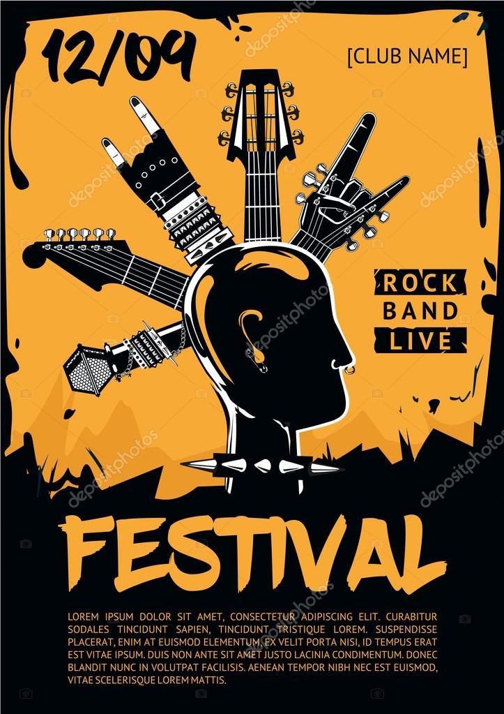 ロック コンサートの音楽ポスター テンプレートです パンクの頭