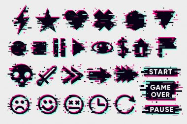 Glitch icons set. Interface navigation elements with glitchy effect. Vector signs collection on white background. Game design elements. icon