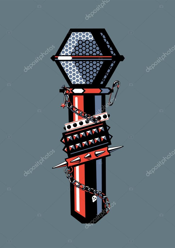 Microphone with studded bracelets