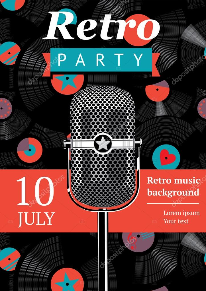 Retro party poster. Design template with a vintage microphone and vinyl records on the background. stock vector