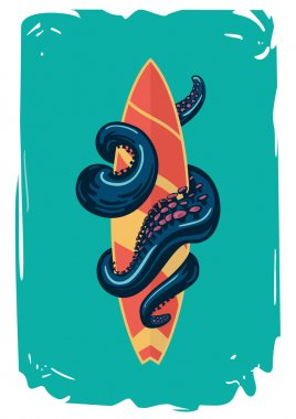 Surfboard with an octopus