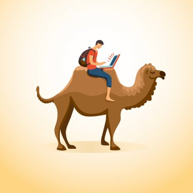 Man travels on camel with laptop
