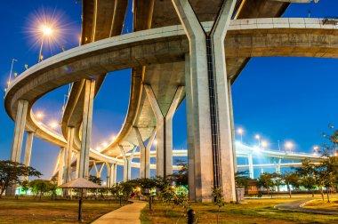Twilight under view panorama Bhumibol highway Bridge