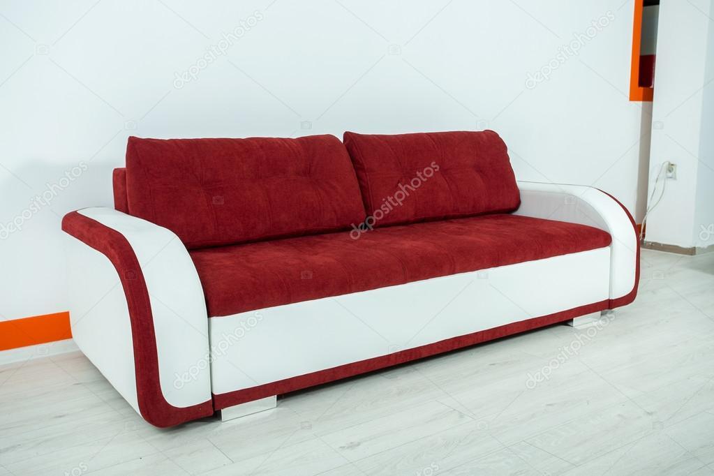 Red-white sofa on a white background — Stock Photo © VadimBorkin ...