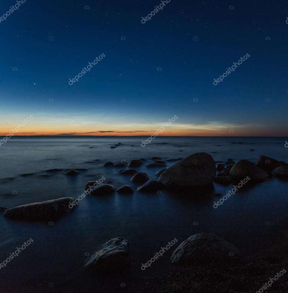 Twilight, sea, rocky beach,  stars, sky