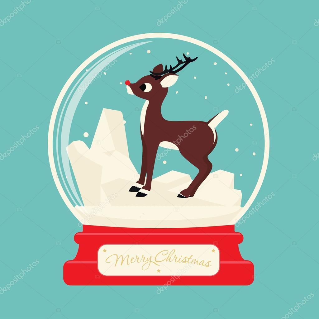 Frohe Weihnachten-Glaskugel mit Rentier Rudolf. Festlichen Kulisse ...