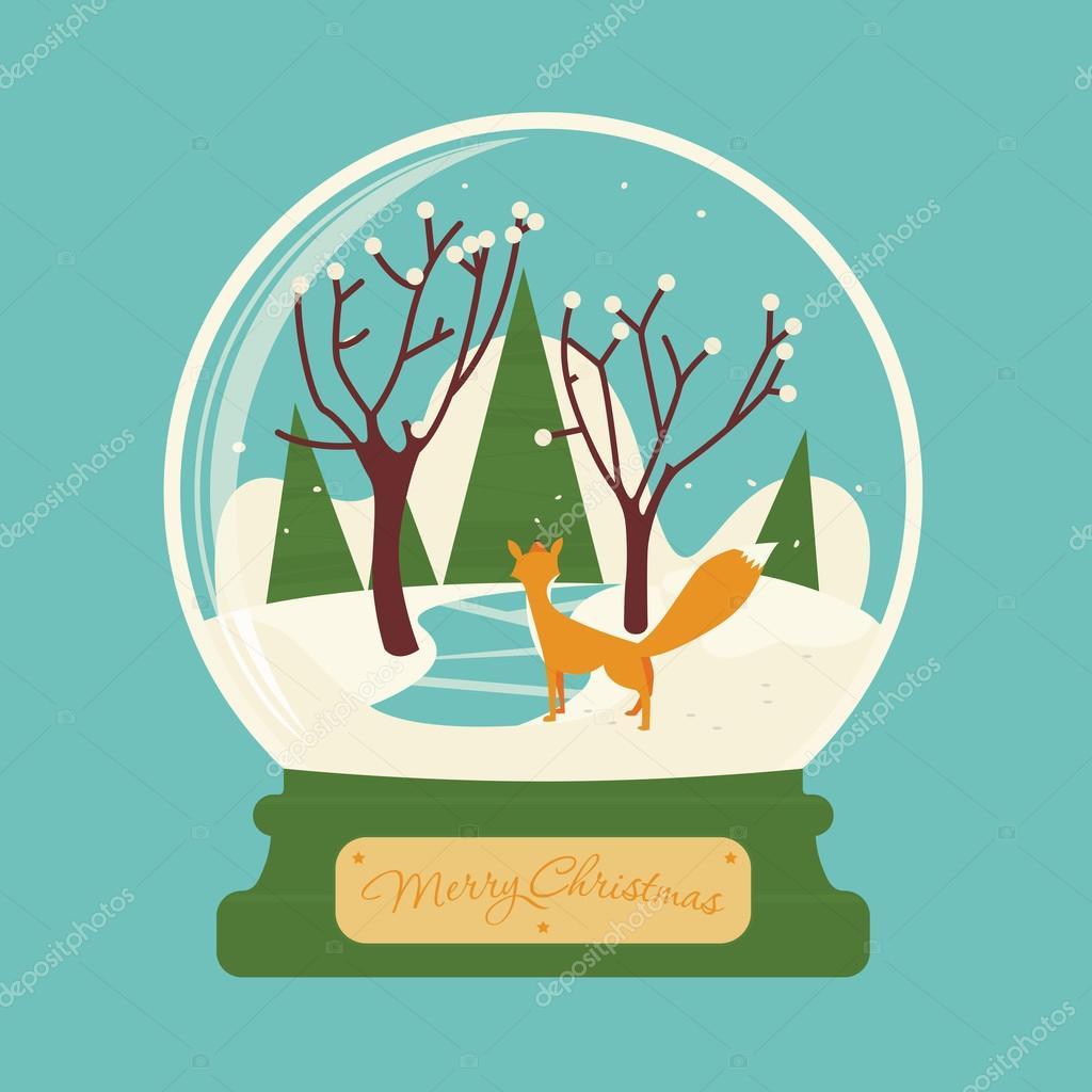 nyår gratulationer Merry christmas glaskula med räv i skogen. Festliga landskap  nyår gratulationer