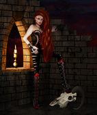 Gotická dívka s zvířecí lebky ilustrace