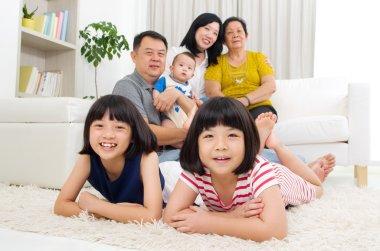 Happy Asian family