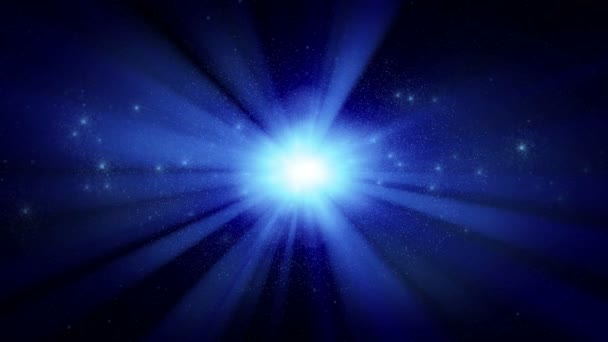 bright star cluster with blue rays, seamless loop