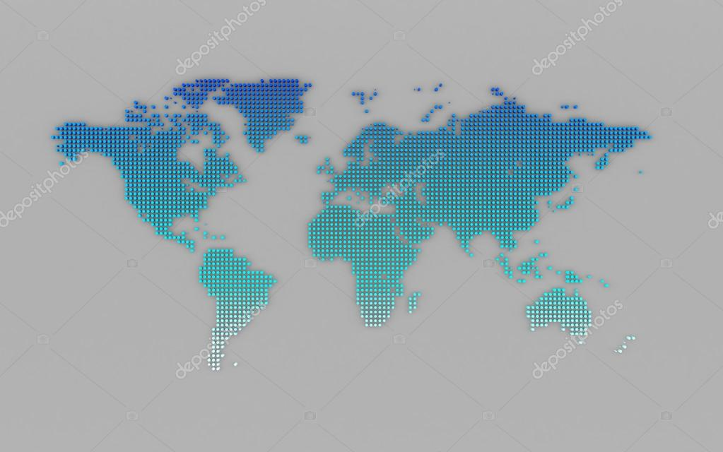 abstract computer graphic world map of blue round dots photo by teerawit