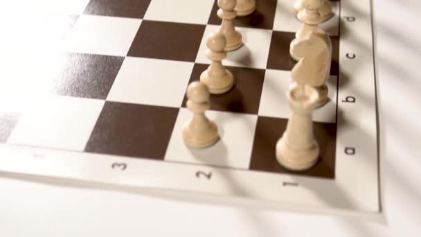 Spielen Sie ein schönes Baumschach auf einem Elfenbeinbrett, Figuren für Spiele und Saatkrähen, Königinnen und Könige, Pferde Tisch im Dunkeln, stilvoll für Werbedesign.