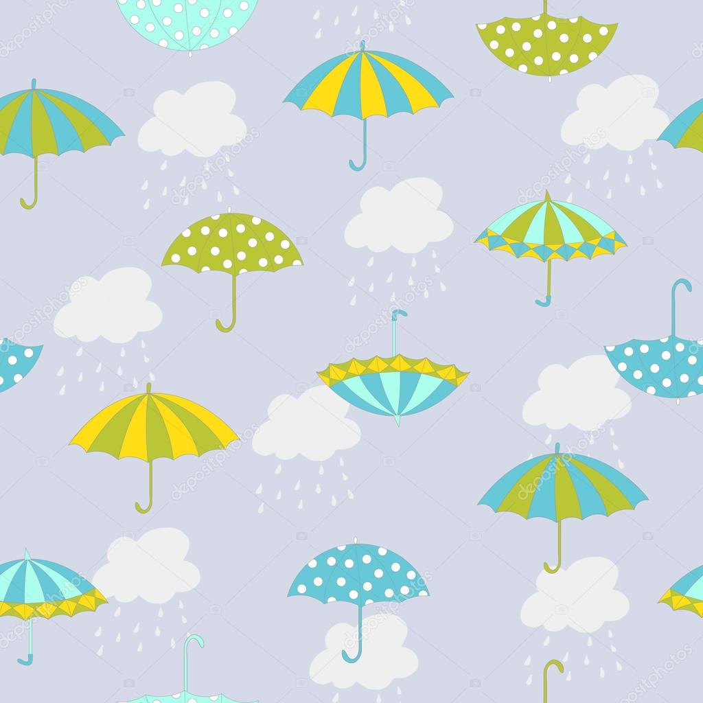 Vector Autumn Seamless Pattern With Hand Drawn Umbrellas Clouds And Rain Can Be Used For Background Card Template Fabric Print Scrapbook By
