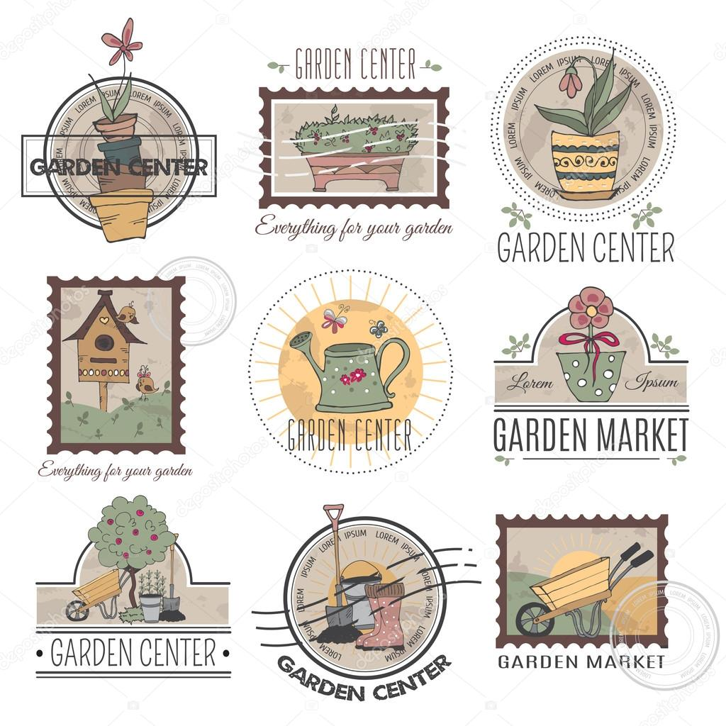 Garden center logo set