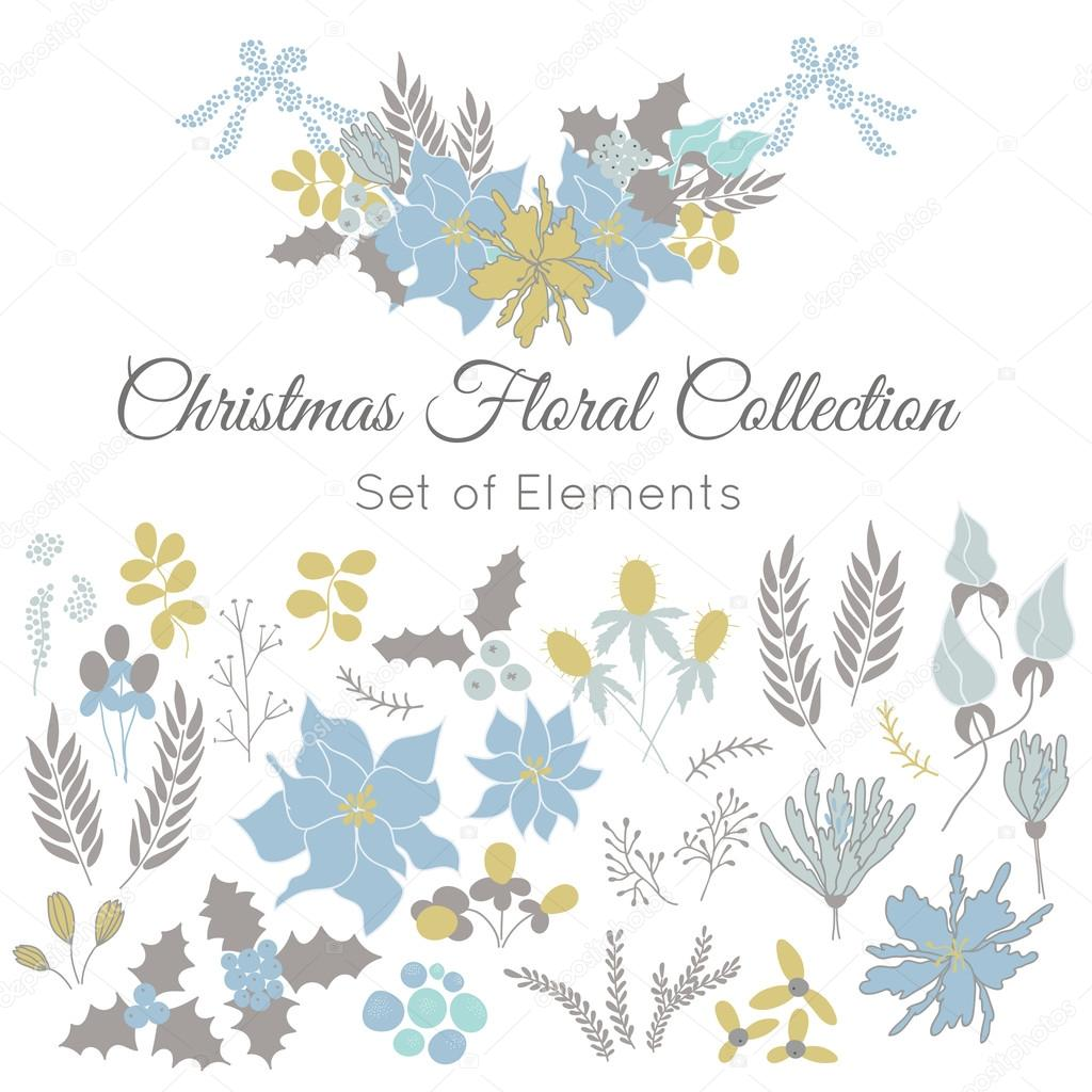 Christmas set of floral elements