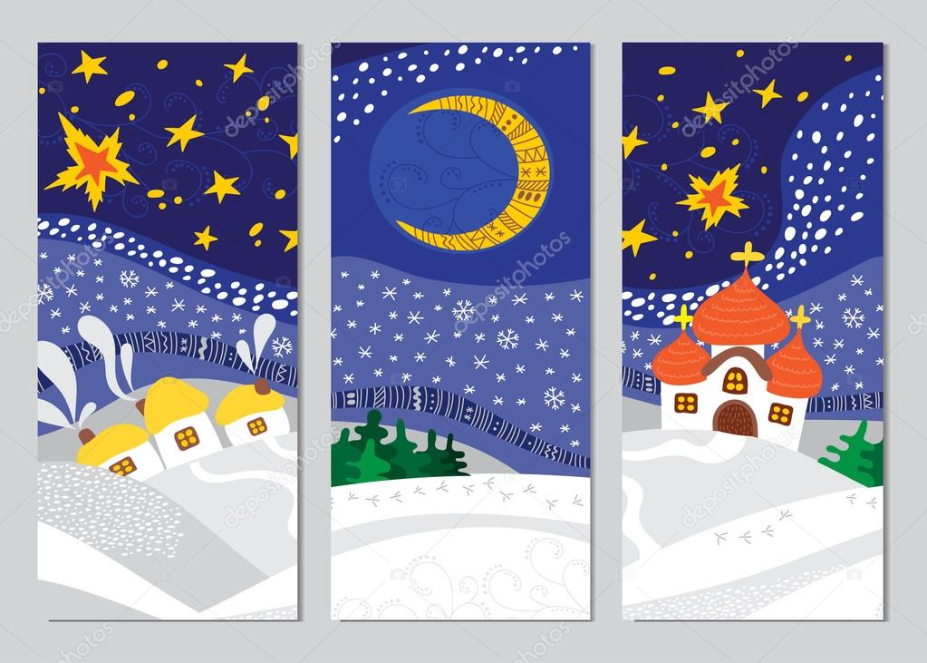 Set of Christmas Night Landscape cards