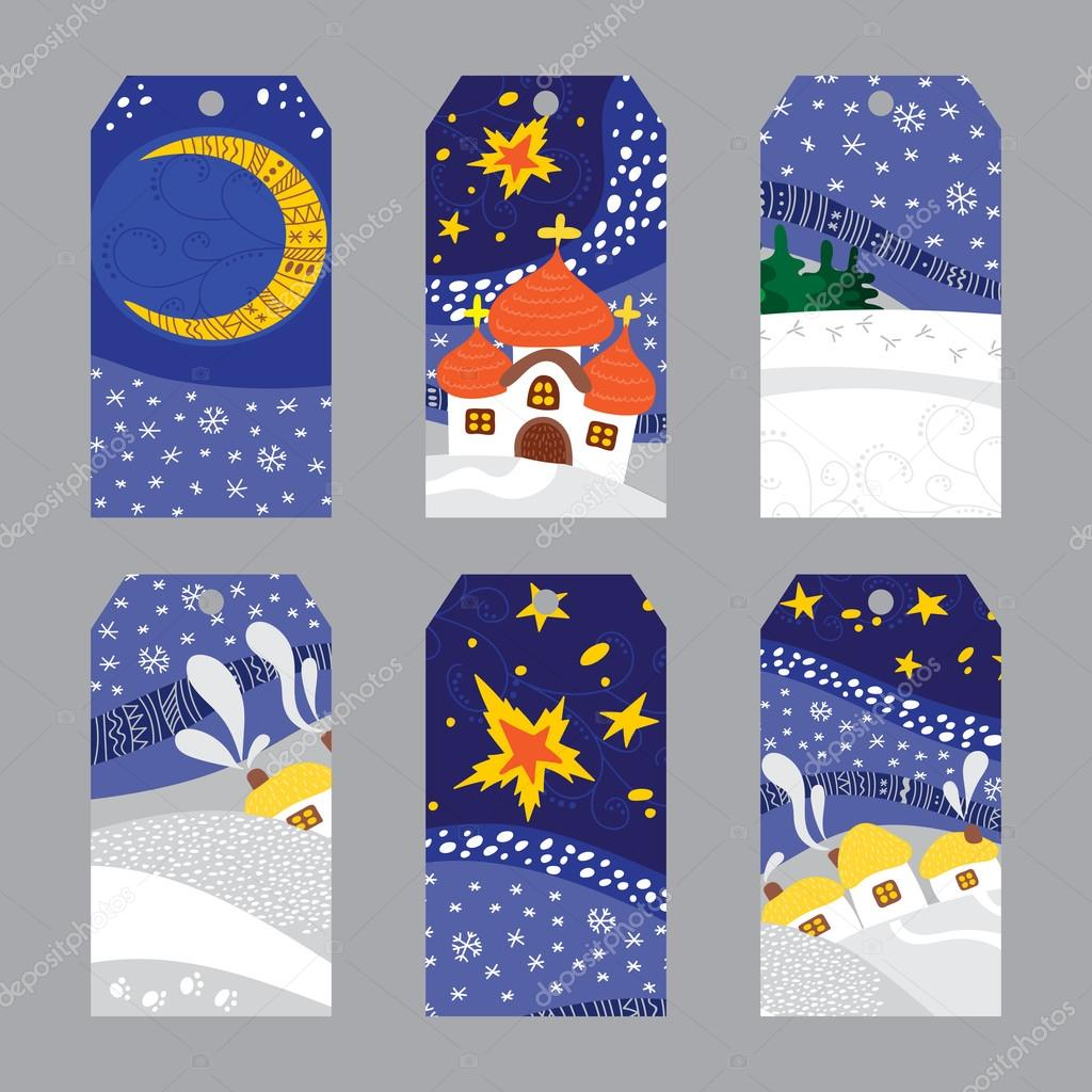 Set of Christmas Night Landscape tags