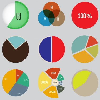 Infographic Elements, pie chart set icon, business elements and statistics