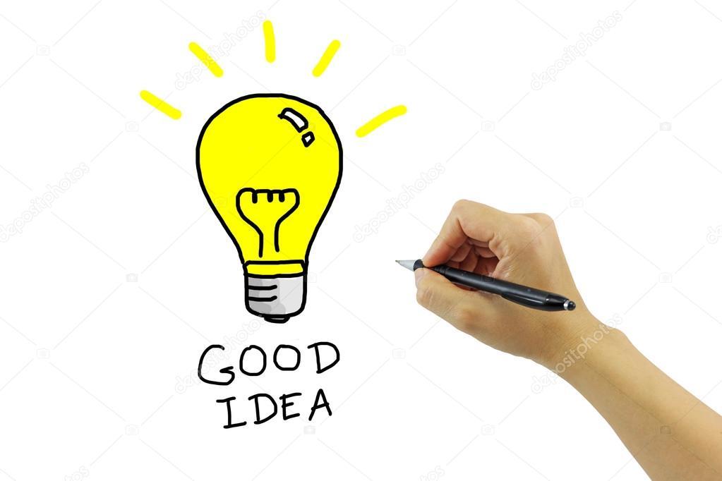 main avec dessin grosse ampoule jaune avec le mot de bonne. Black Bedroom Furniture Sets. Home Design Ideas