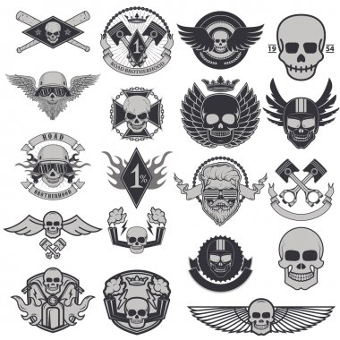 Set of biker labels and emblems