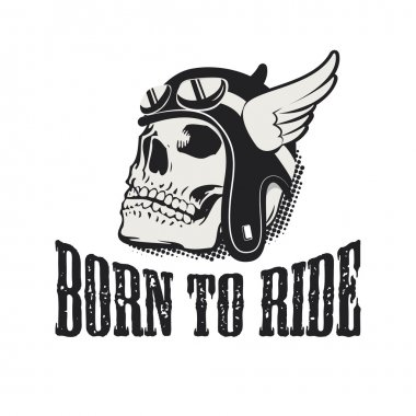 Skull in winged motorcycle helmet. Born to ride.