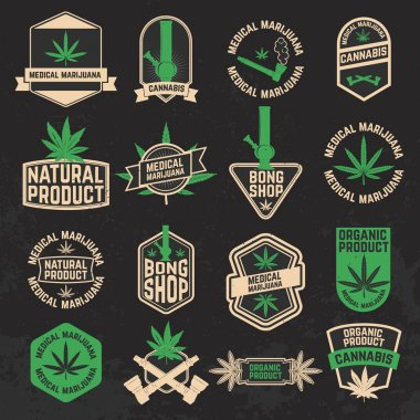 Set of cannabis, marijuana, bong shop labels, badges and design