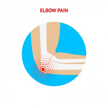 Elbow pain. Elbow pain icon isolated on white background.