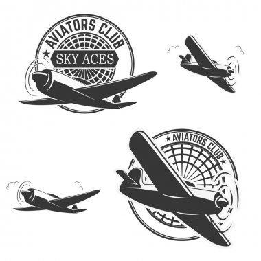 Set of aviators club labels